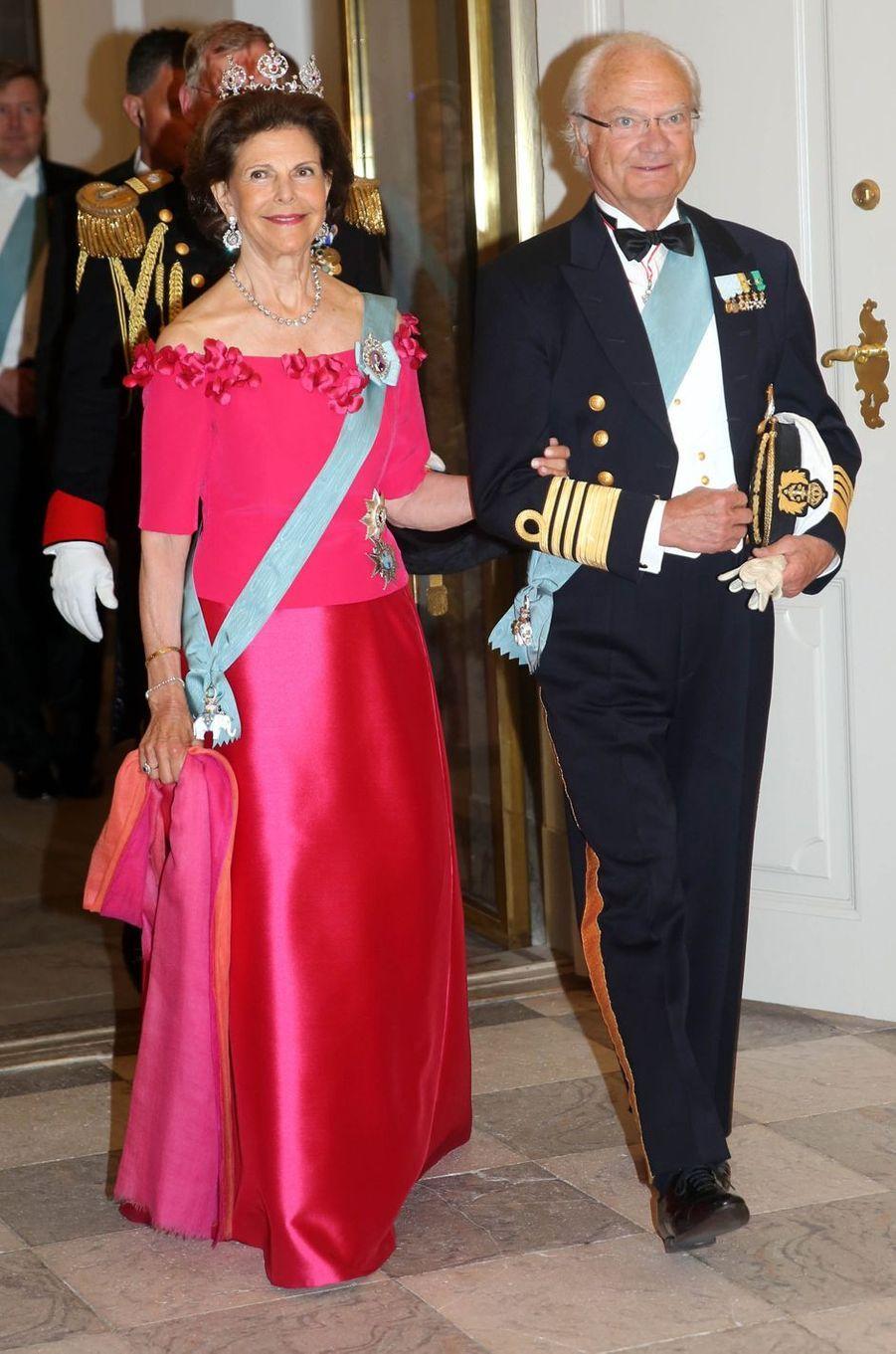 La reine Silvia et le roi Carl XVI Gustaf de Suède à Copenhague, le 26 mai 2018