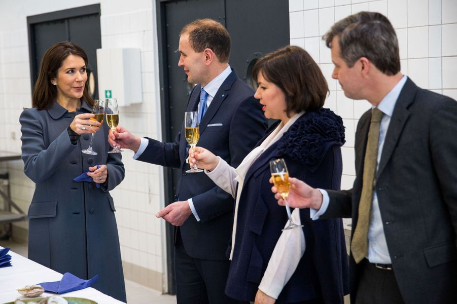 La princesse Mary et le prince Frederik de Danemark avec le couple présidentiel d'Islande à Copenhague, le 25 janvier 2017