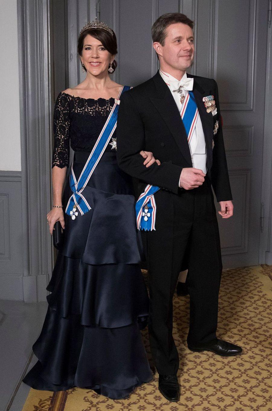 La princesse Mary et le prince Frederik de Danemark au Palais d'Amalienborg à Copenhague, le 24 janvier 2017