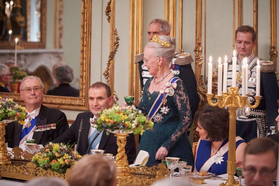 La reine Margrethe II de Danemark et le prince consort Henrik au Palais d'Amalienborg à Copenhague, le 24 janvier 2017