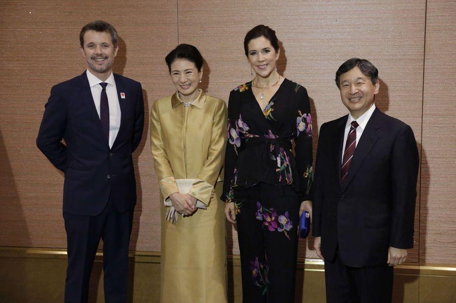 Le prince Frederik de Danemark, la princesse Masako du Japon, la princesse Mary de Danemark et le prince Naruhito du Japon à Tokyo, le 12 octobre 2017