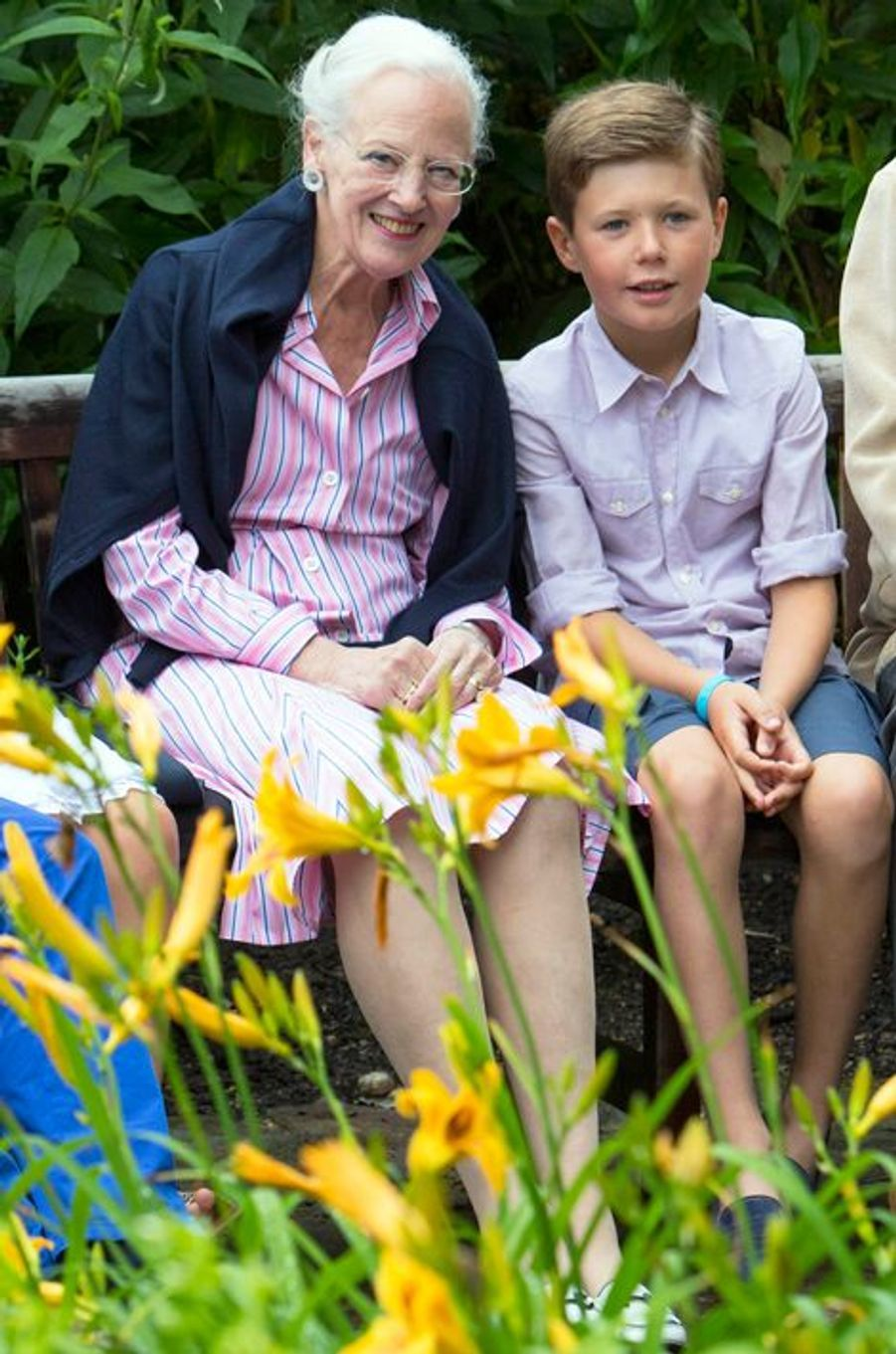 Le prince Christian de Danemark avec la reine Margrethe II le 25 juillet 2015