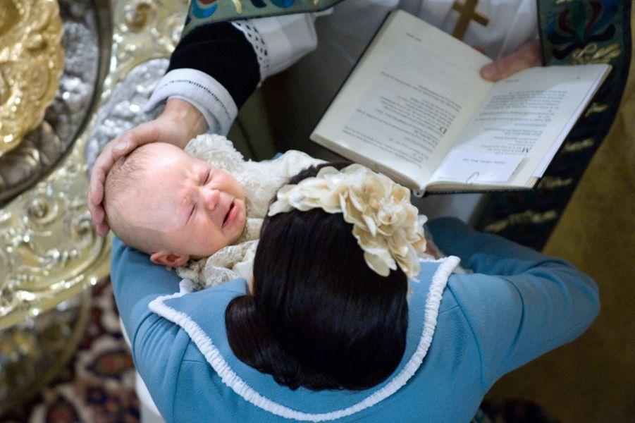 Le prince Christian de Danemark avec sa mère le 21 janvier 2006