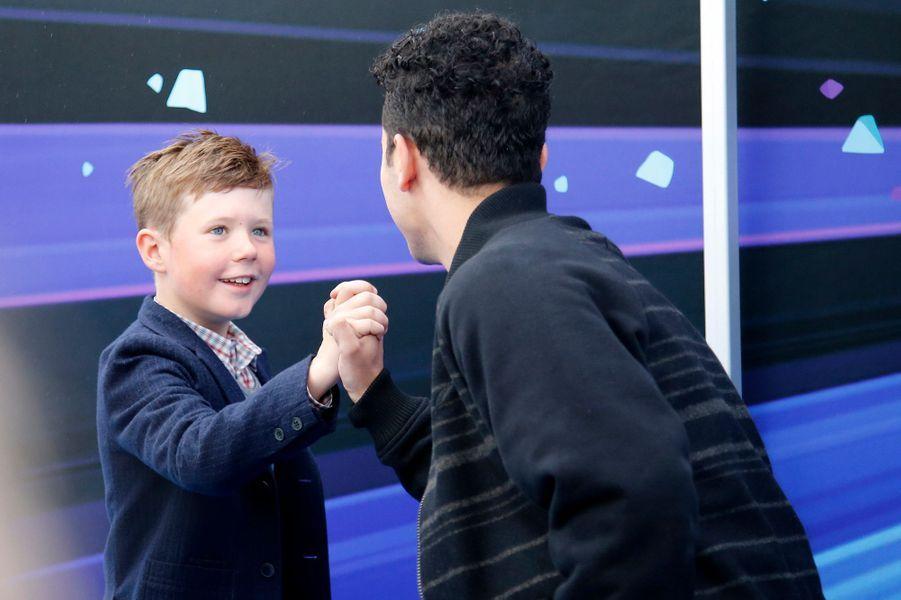 Le prince Christian de Danemark avec son père le 8 mai 2014