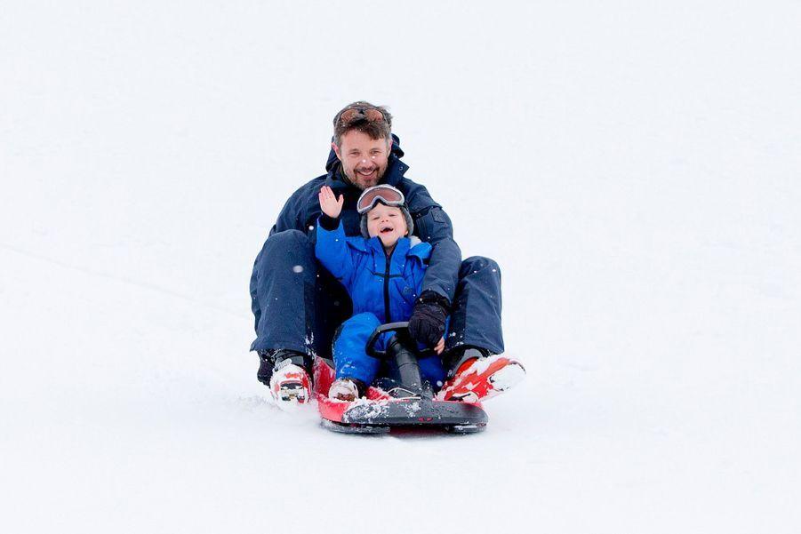 Le prince Vincent au ski en février 2014