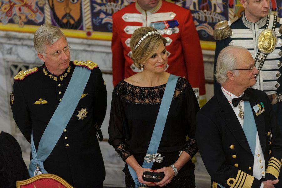 La reine Maxima des Pays-Bas encadrée des rois Philippe de Belgique et Carl XVI Gustaf de Suède, à Copenhague le 15 avril 2015