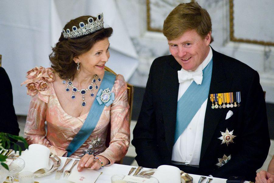 Le roi Willem-Alexander des Pays-Bas et la reines Silvia de Suède, à Copenhague le 15 avril 2015