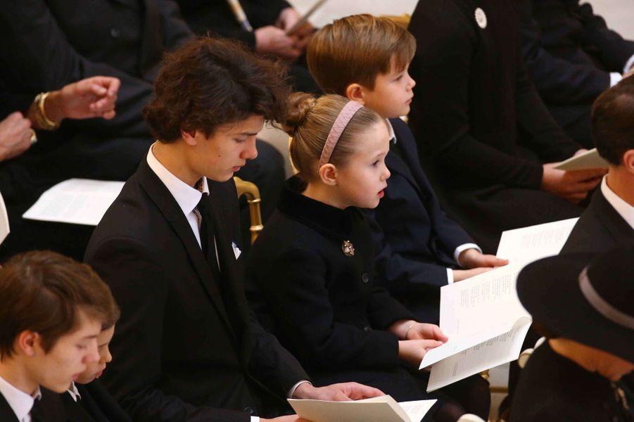 Les princes Felix, Henrik, Nikolaï et Vincent et la princesse Josephine de Danemark à Copenhague, le 20 février 2018