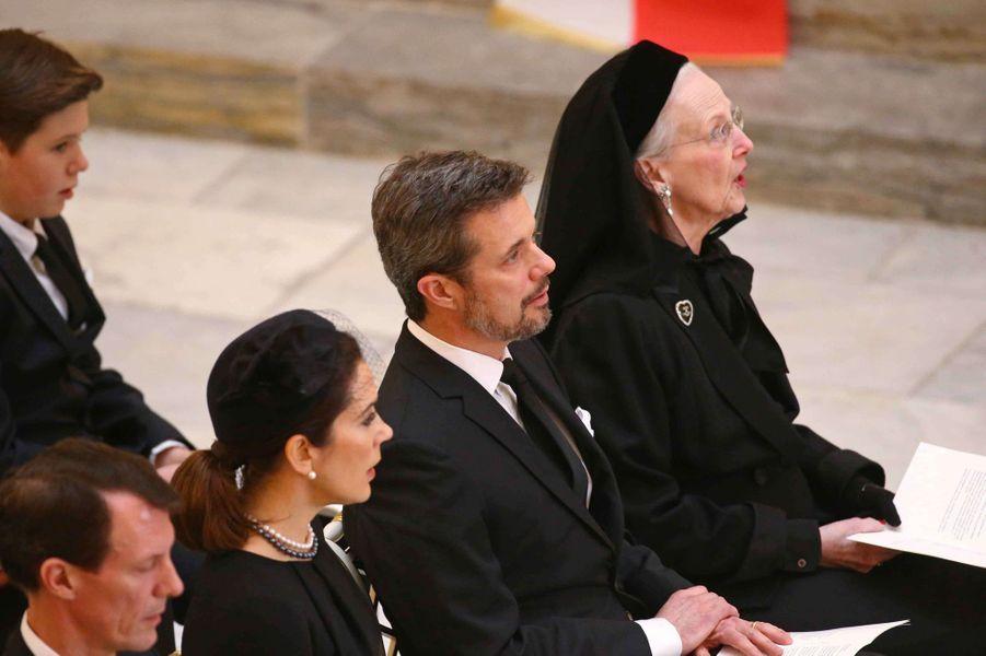 La reine Margrethe II de Danemark, les princes Frederik, Joachim et Christian et la princesse Mary à Copenhague, le 20 février 2018