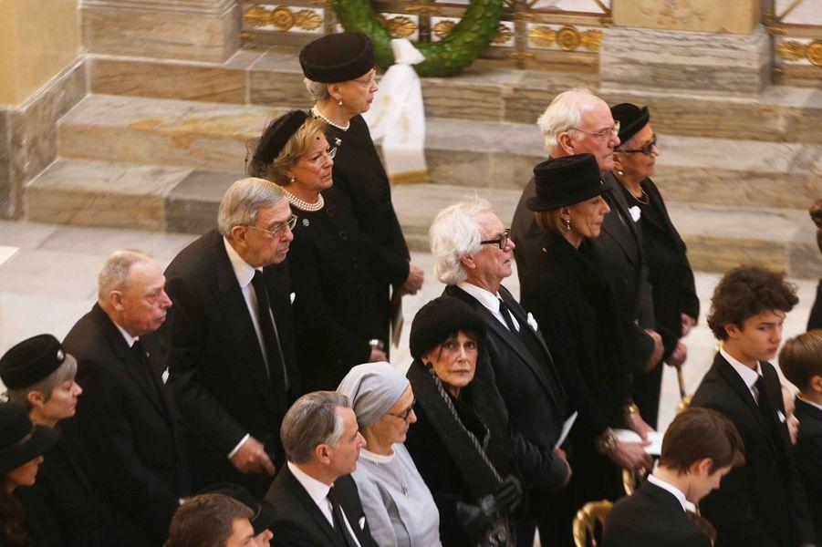 Les soeurs de la reine Margrethe II de Danemark et la famille de Laborde de Montpezat, à Copenhague le 20 février 2018
