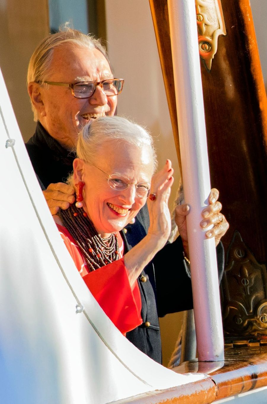 Le prince Henrik de Danemark avec la reine Margrethe II, le 28 août 2017