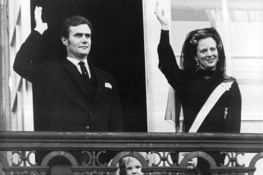 Le prince Henrik de Danemark avec la reine Margrethe II, le 17 janvier 1972