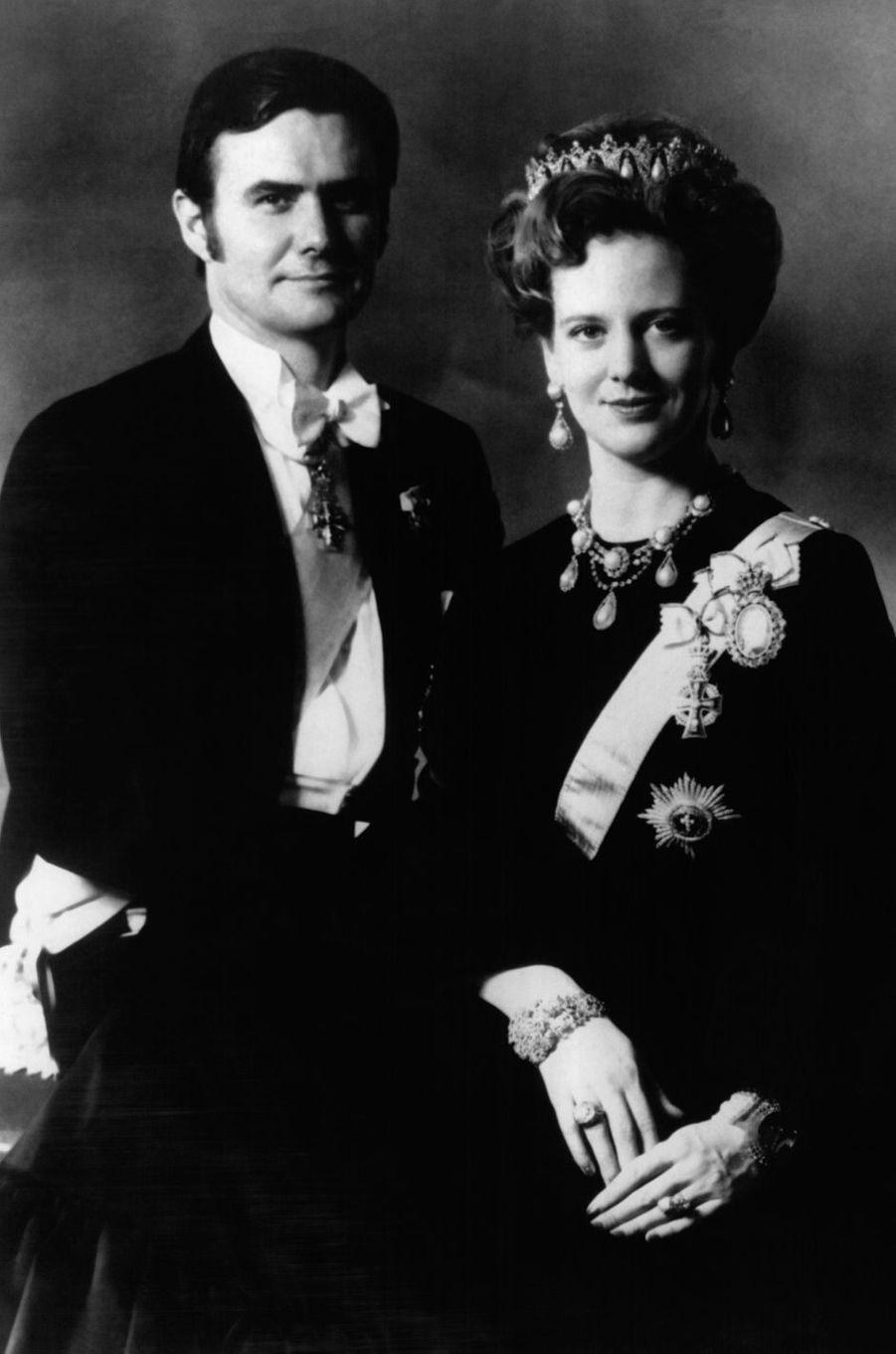 Le prince Henrik de Danemark avec la reine Margrethe II, le 16 mars 1972