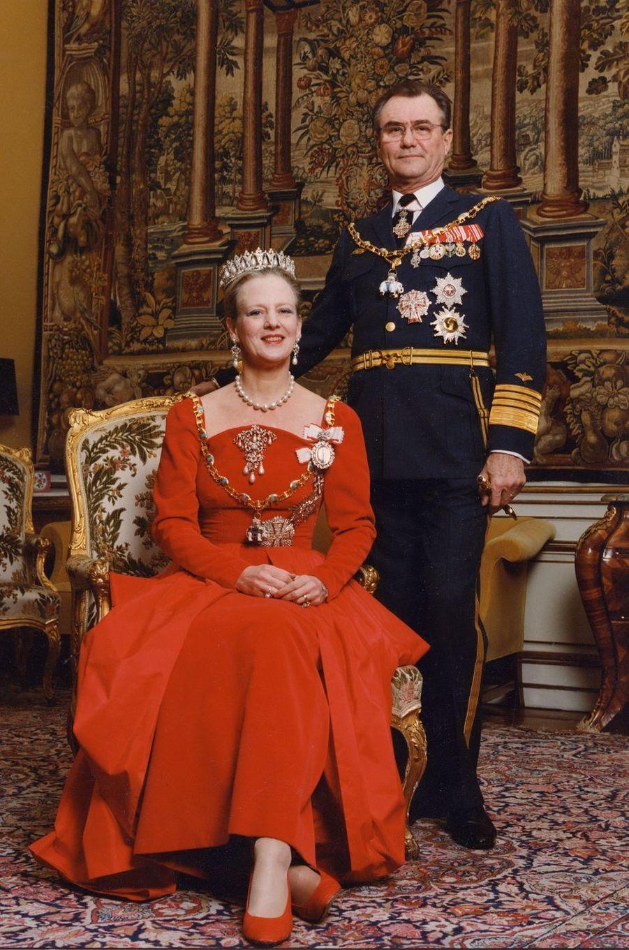 Le prince Henrik de Danemark avec la reine Margrethe II, le 1er janvier 1992