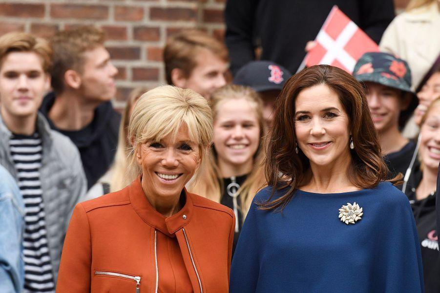 Brigitte Macron et la princesse Mary de Danemark à Copenhague, le 29 août 2018