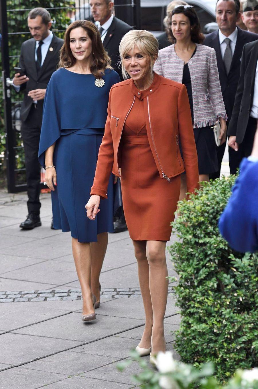 La princesse Mary de Danemark et Brigitte Macron à Copenhague, le 29 août 2018