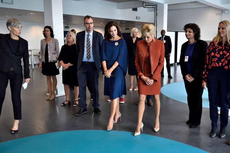La princesse Mary de Danemark avec Brigitte Macron à Copenhague, le 29 août 2018