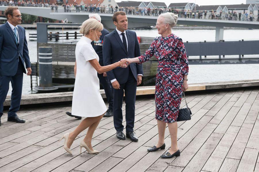 La reine Margrethe II de Danemark avec Emmanuel et Brigitte Macron à Copenhague, le 29 août 2018