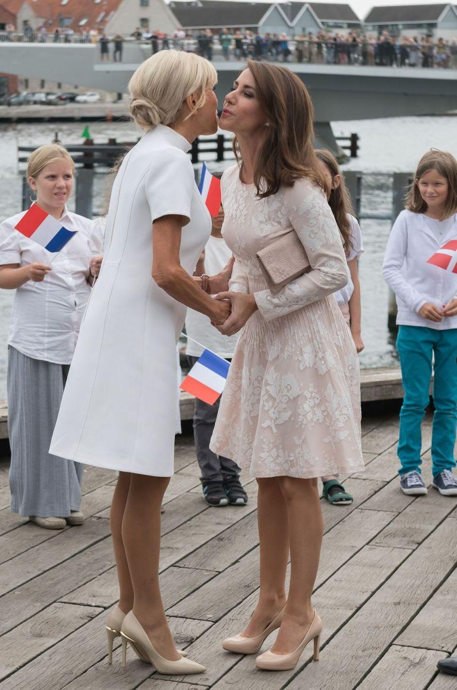 Brigitte Macron et la princesse Marie de Danemark à Copenhague, le 29 août 2018