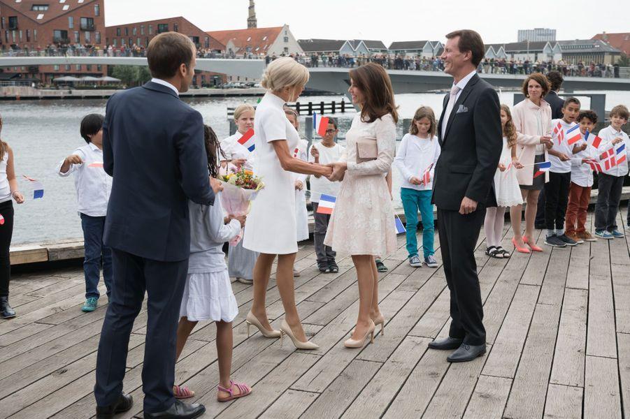 La princesse Marie et le prince Joachim de Danemark avec Brigitte et Emmanuel Macron à Copenhague, le 29 août 2018