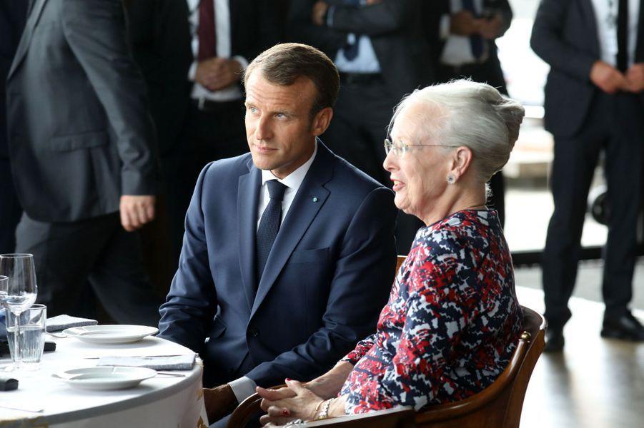 La reine Margrethe II de Danemark avec Emmanuel Macron à Copenhague, le 29 août 2018