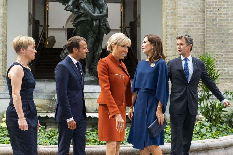 La princesse Mary et le prince Frederik de Danemark avec Brigitte et Emmanuel Macron à Copenhague, le 29 août 2018