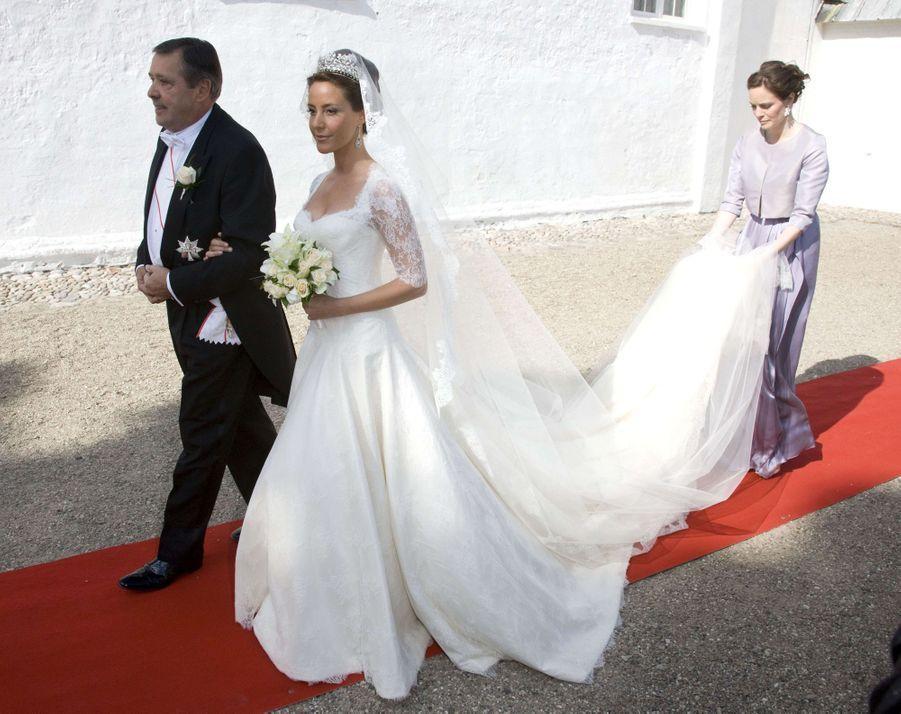 Marie Cavallier le jour de son mariage avec le prince Joachim de Danemark, le 24 mai 2008