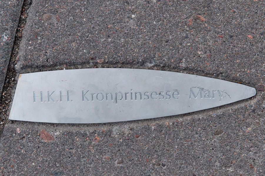 Plaque au nom de la princesse Mary de Danemark à Turku, le 14 septembre 2018