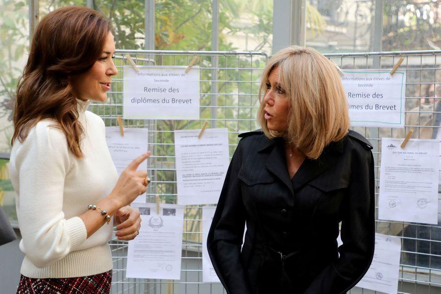 La princesse Mary de Danemark et Brigitte Macron à la cité scolaire Lamartine à Paris, le 9 octobre 2019