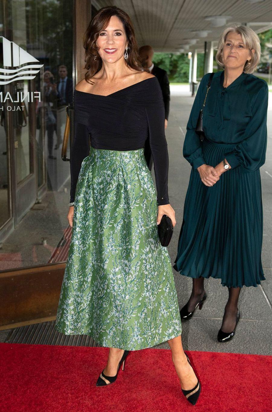 La princesse Mary de Danemark dans une jupe H&M Conscious Exclusive à Helsinki, le 13 septembre 2018