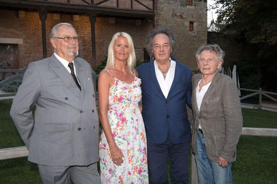 Le prince Henrik de Danemark avec Alice Bertheaume, Gonzague Saint Bris et Roman Polanski, au château du Clos Lucé le 27 août 2016