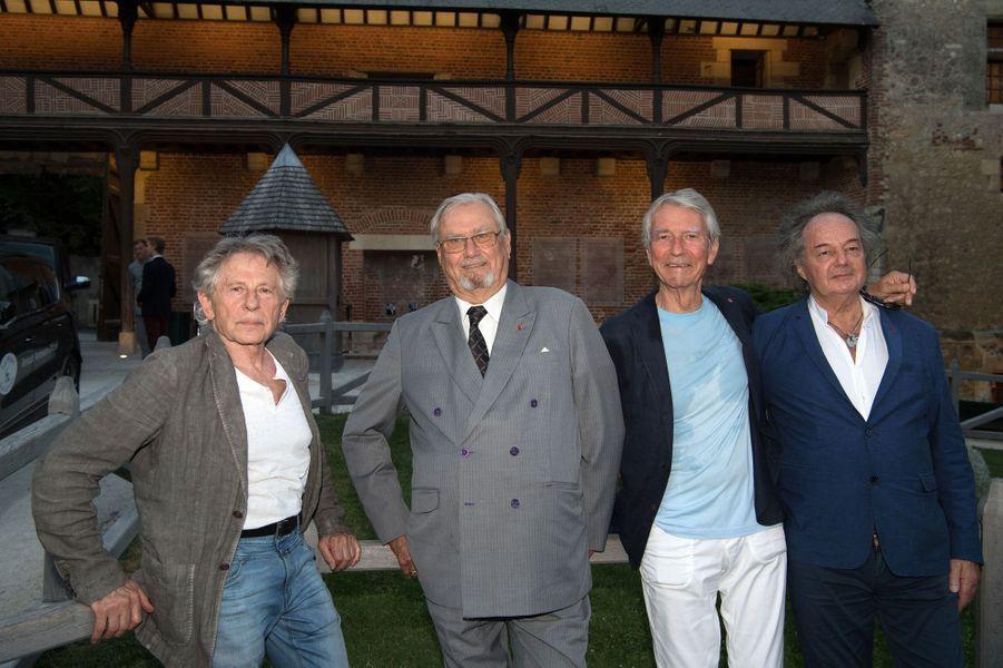 Le prince Henrik de Danemark avec Roman Polanski, Jean-Claude Narcy et Gonzague Saint Bris au château du Clos Lucé, le 27 août 2016