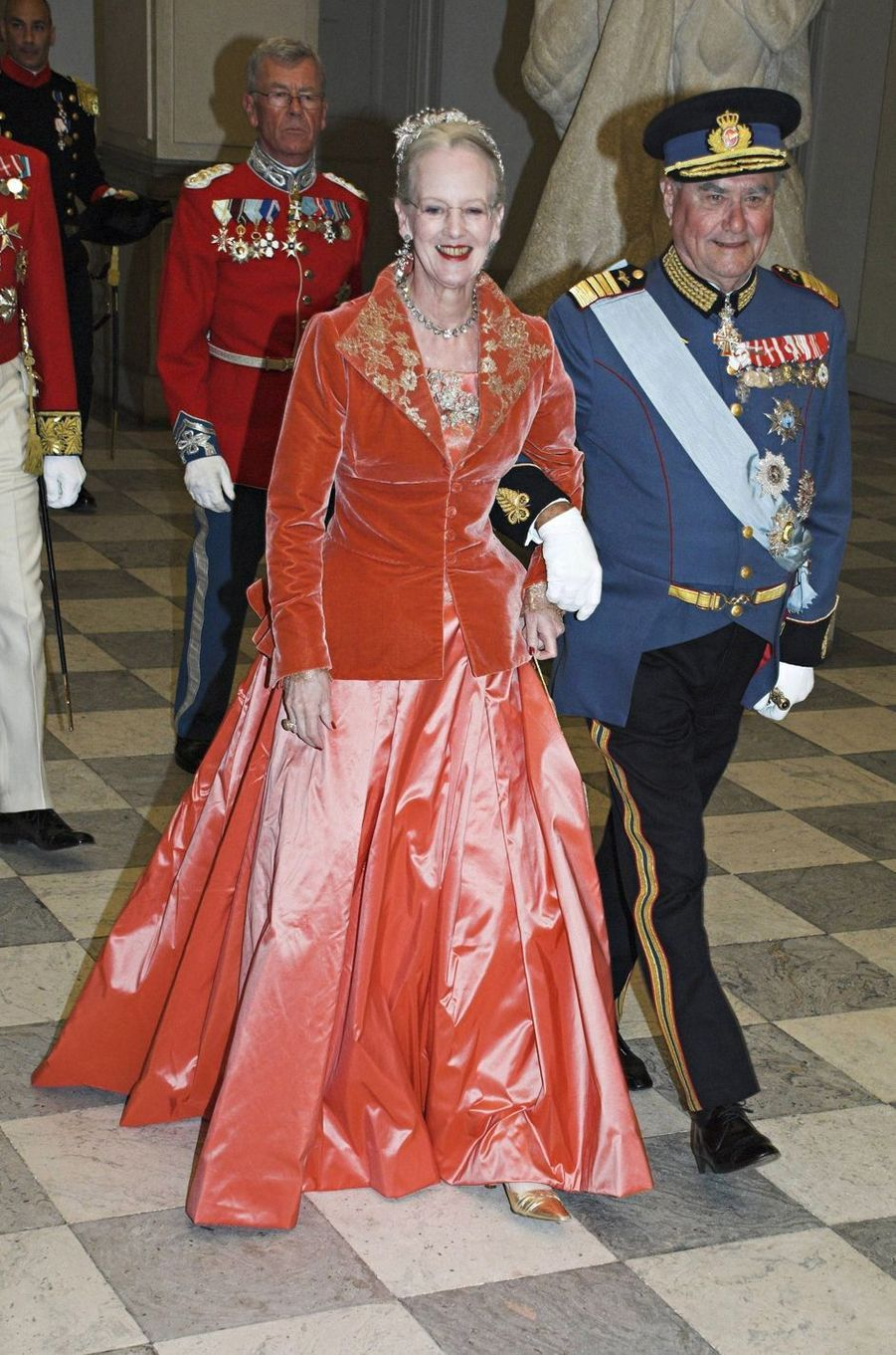 La reine Margrethe II de Danemark lors de la visite d'Etat du couple royal suédois, le 10 mai 2007