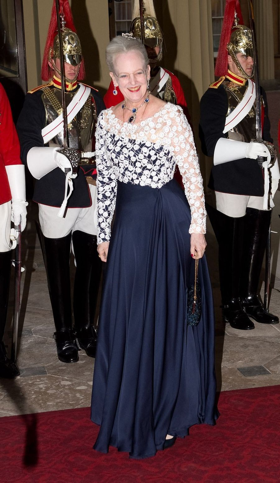 La reine Margrethe II de Danemark lors du dîner offert aux souverains étrangers par le prince Charles et la duchesse de Cornouailles Camilla pour le jubilé de diamant d'Elizabeth II, le 18 mai 2012