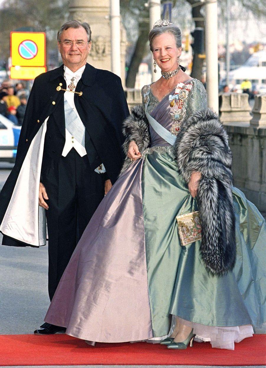 La reine Margrethe II de Danemark lors de la soirée des 50 ans du roi Carl XVI Gustaf de Suède, le 30 avril 1996
