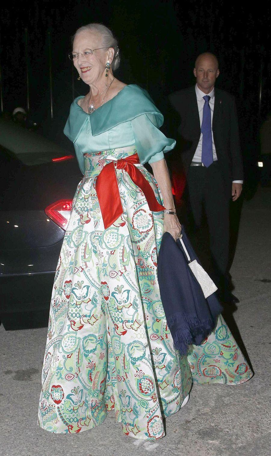 La reine Margrethe II de Danemark aux noces d'or de sa soeur l'ex-reine Anne-Marie et de son mari l'ex-roi des Hellènes Constantin, le 18 septembre 2014