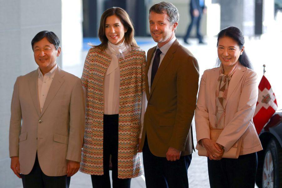 La princesse Mary et le prince Frederik de Danemark avec la princesse Masako et le prince Naruhito du Japon à Tokyo, le 8 octobre 2017