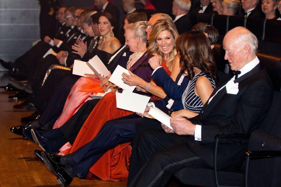 La famille royale de Danemark avec la reine Maxima et le roi Willem-Alexander des Pays-Bas à Copenhague, le 18 mars 2015