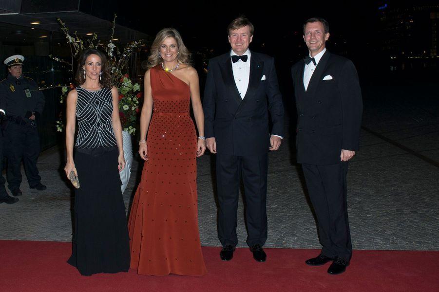 La princesse Marie et le prince Joachim de Danemark avec la reine Maxima et le roi Willem-Alexander des Pays-Bas à Copenhague, le 18 mars 2015