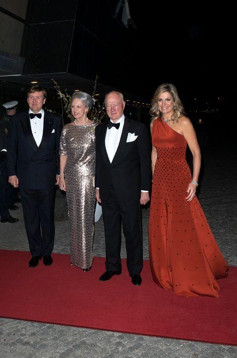 La reine Maxima et le roi Willem-Alexander des Pays-Bas avec la princesse Benedikte de Danemark et son mari à Copenhague, le 18 mars 2015