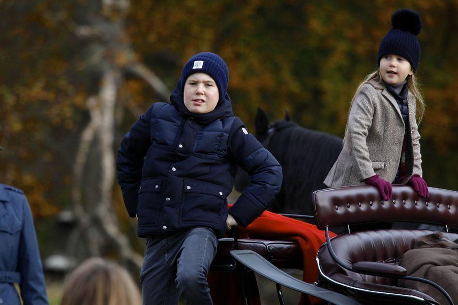 Le prince Christian et la princesse Josephine de Danemark à Klampenborg, le 5 novembre 2017