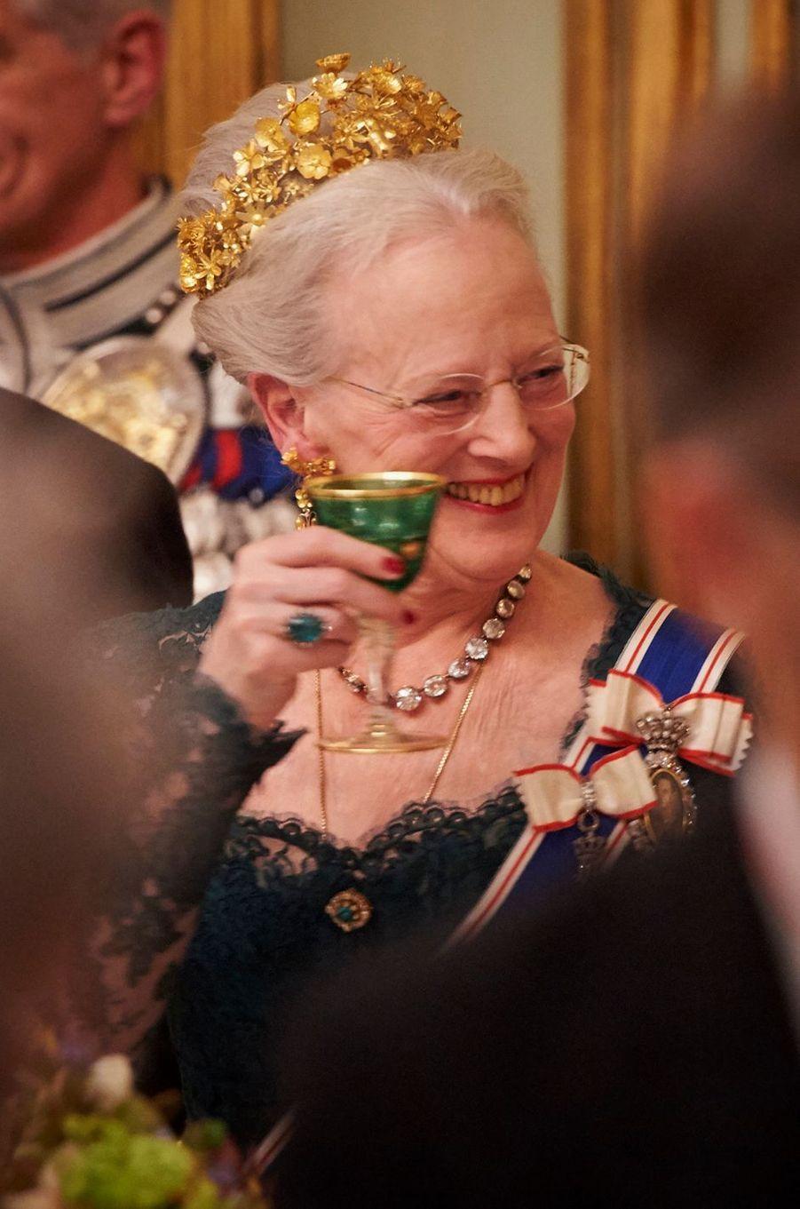 La reine Margrethe II de Danemark coiffée de son diadème Naasut, le 24 janvier 2017