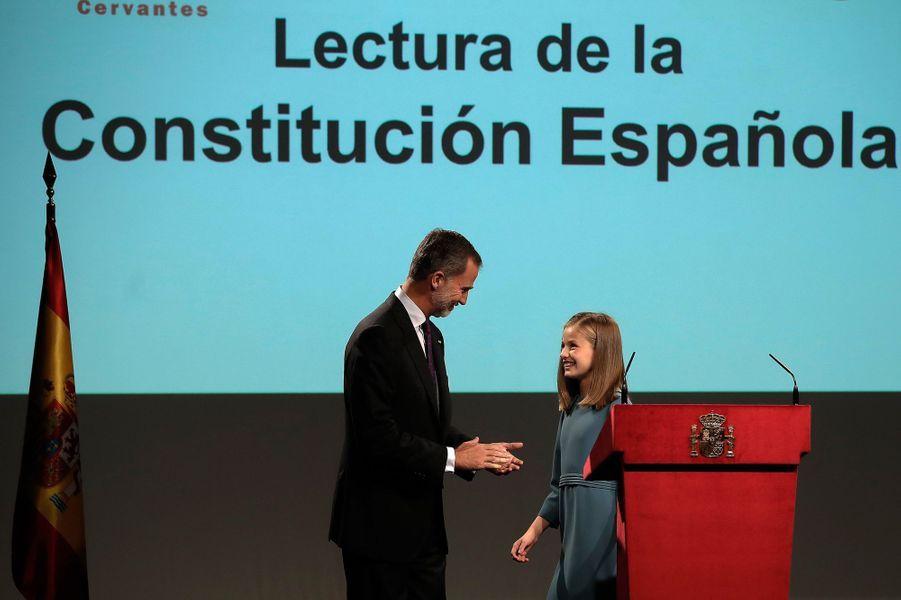 La princesse Leonor d'Espagne et le roi Felipe VI, le 31 octobre 2018
