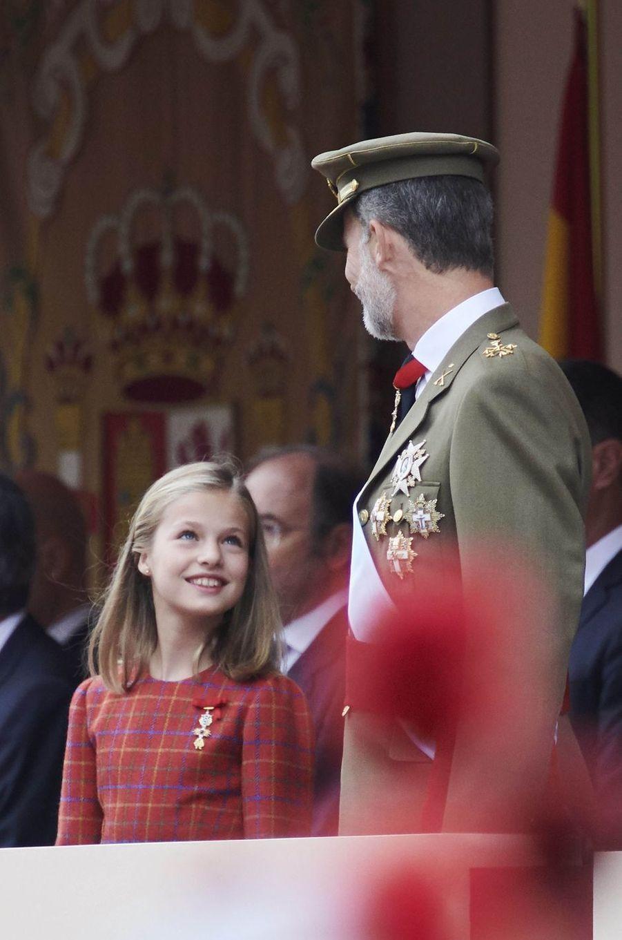 La princesse Leonor d'Espagne et le roi Felipe VI, le 12 octobre 2018