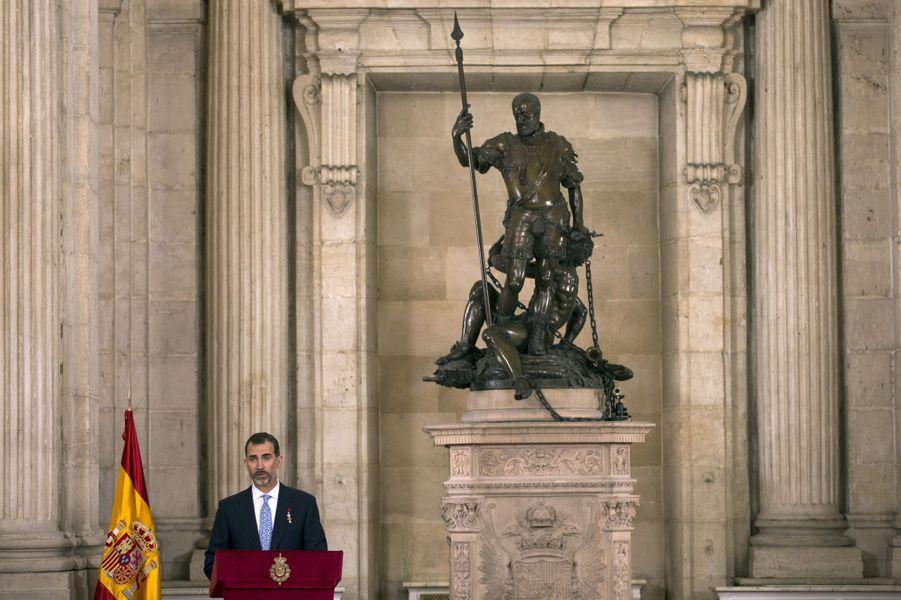 Le roi Felipe VI d'Espagne au Palais royal de Madrid, le 19 juin 2015