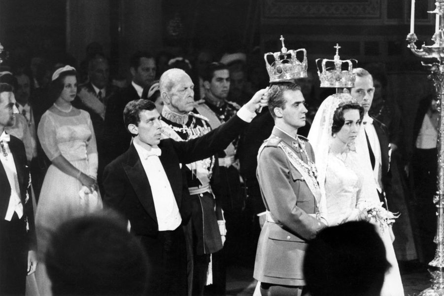 Au mariage de la princesse Sophie de Grèce et de Don Juan Carlos d'Espagne à Athènes, le 14 mai 1962