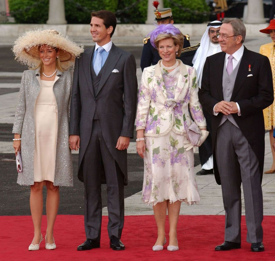 L'ancienne reine Anne-Marie et l'ancien roi Constantin II de Grèce avec le prince Pavlos et la princesse Marie-Chantal à Madrid, le 22 mai 2019