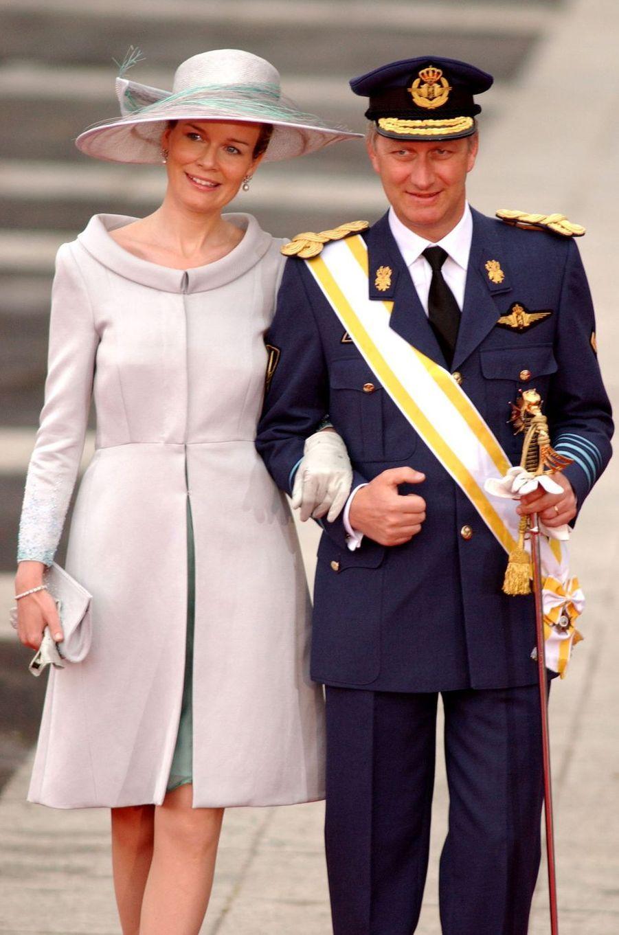 La princesse Mathilde et le prince héritier Philippe de Belgique à Madrid, le 22 mai 2004