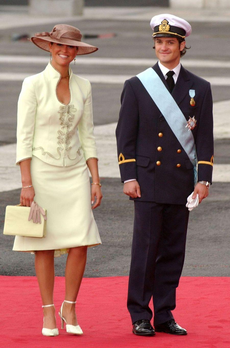 La princesse Madeleine et le prince Carl Philip de Suède à Madrid, le 22 mai 2004