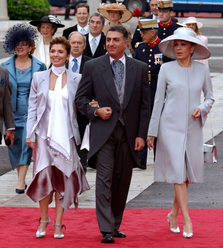 L'ancienne impératrice d'Iran Farah Diba avec son fils Reza Pahlavi et sa belle-fille Yasmine à Madrid, le 22 mai 2019